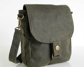 Waxed Canvas Bag, Waxed Canvas Hip Bag, Waxed Canvas Pouch - The Olive Hipster Plus