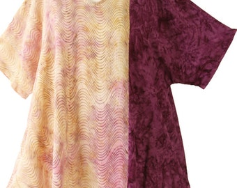 HALF OFF!  Peggy Lutz Plus Shell Top Golden Pink Burgundy Wearable Art 1503 Size 26/28
