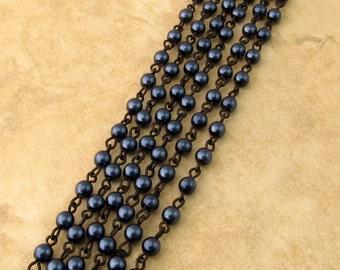 Czech Rosary Chain, 4 mm Blue Denim Glass Pearl, Black Link, 1 Foot, C360