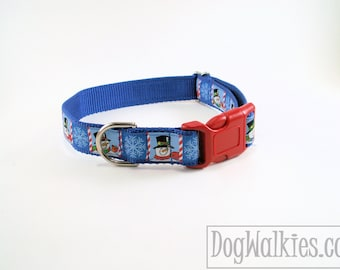 """Snowflakes and Smiles Winter Dog Collar - 1"""" (25mm) Wide - Choice of collar style and size - Martingale Dog Collars or Quick Release Buckle"""
