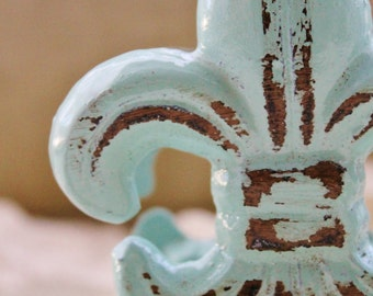 Catalina Mist Fleur De Lis Business Card Holder-Cast Iron-French Home -Shabby Chic-French-Office Desk-Spring Home Decor-Pastels-Office