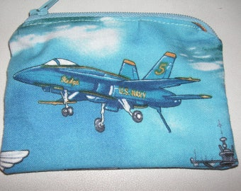 US Navy military armed forces handmade zipper fabric coin change purse card holder