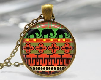 Modern Elephant Pendant, Tribal Art Pendant, Modern Necklace, Modern Elephant Pendant, Bronze, Silver, Elephant Jewelry Green Orange Art 369