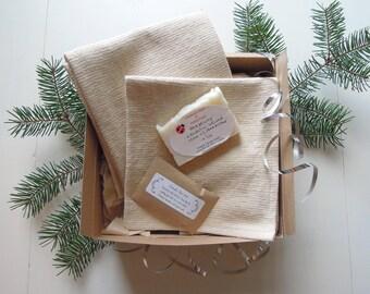 Wellness-Reinigung-Geschenk-Set, Spa-Geschenk-Set, Geschenk für sie, Geschenk für Mama, Bio-Spa Lavendel Fuß einweichen, natürliche Waschlappen, Handtuch