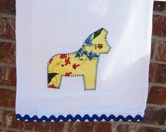 Swedish Dala Horse Tea Towel - Dala horse yellow floral with blue rickrack