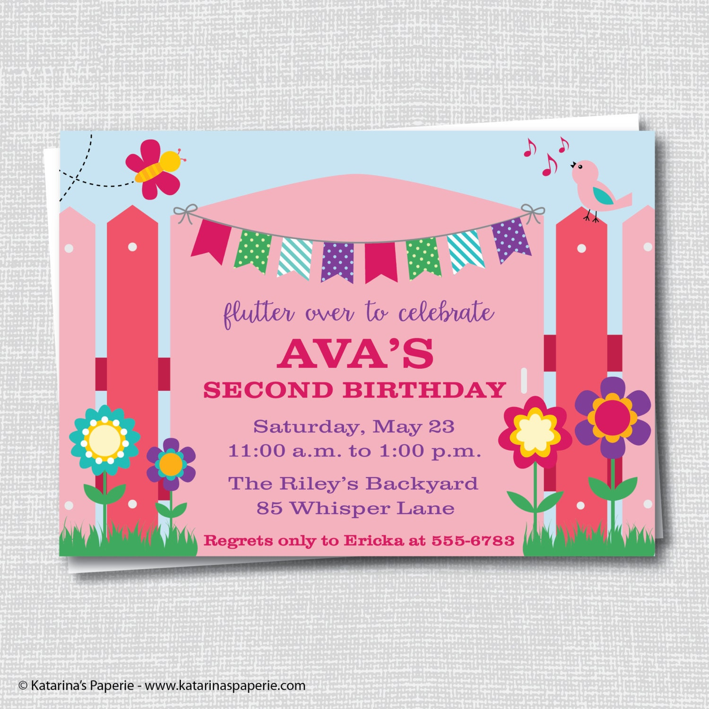 Girl Garden Party Invitation Spring Themed Birthday