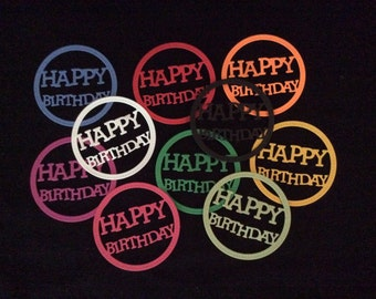 Happy Birthday Die Cut Cardstock Embellishment - Handmade - set of 12