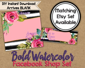 Watercolor Facebook Shop Set - Shop Graphics - Watercolor Shop Banner - Facebook Timeline Cover - Watercolor Timeline Cover - Watercolour