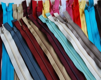 """20 set, nylon zippers colorful zippers 8""""  plastic closed zippers"""