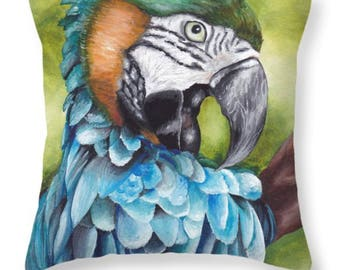 Blue Macaw Pillow