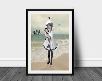 Lowbrow Art Print   Sailor Girl Art   Sailor Girl & Mermaid   A3 Art Print   Found Not Forgotten