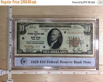 10%OFF3DAYSALE 1929 Ten Dollar Money No B03962150A Federal Reserve Bank Note New York Used