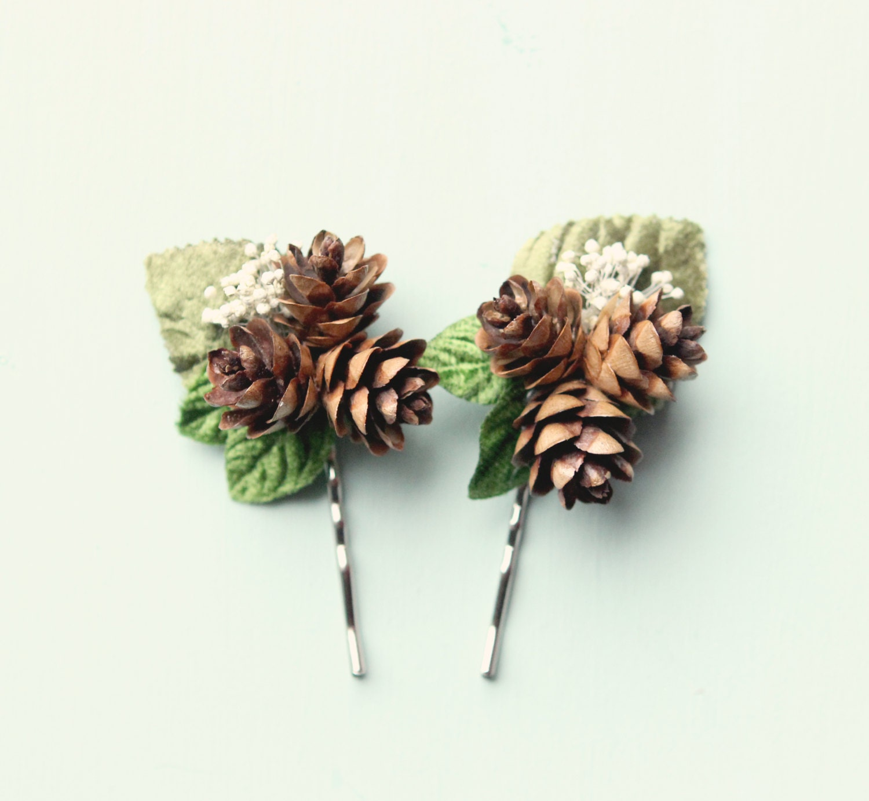 pine cone hair clip rustic wedding accessory winter wedding