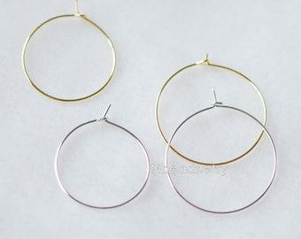 20pcs Gold/ Silver Hoop Ear Wire, Gold/ Rhodium plated Brass Hoop Earrings, 25/ 30mm by 0.7mm  (GB-252)
