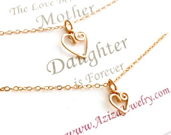 Rose Gold Mother Daughter Heart Necklaces. Rose Gold Heart Necklace Set. Two Pink Gold Hearts Necklace Gift Set. Mothers Day Jewelry