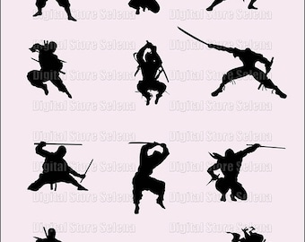Ninja. Clip art. Silhouette. 12 files. PNG. Instant Download.