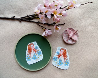 Blue Flowers Girl Sticker | 2 pieces