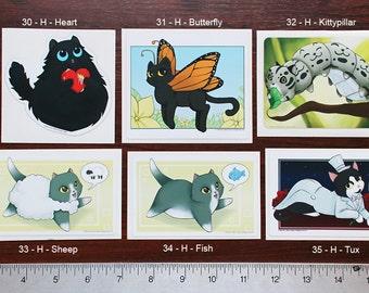 Set of 3 Vinyl Cat Stickers