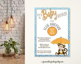 Monkey Baby Shower Invitation, Jungle Monkey Baby Shower Invite, Little Monkey on the Way, Gender Neutral Baby Shower, Preppy Baby Shower