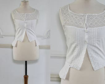 White Cotton Camisole Top with Crochet Top