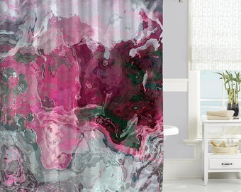 Contemporary Shower Curtain, Waterproof Fabric Shower Curtain, Abstract Art  Bathroom Decor, Hot Pink