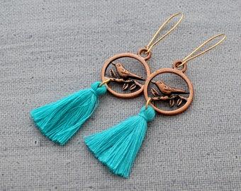 Tassel Earrings - Bird Earrings, Boho Tassel Earrings, Tassle Earrings, Copper Earrings, White Tassel Earrings, Aqua Tassel Earrings, Tassle
