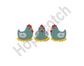 Hens - Machine Embroidery Design, French Hens, Chickens