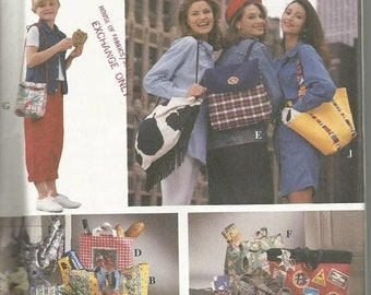 ON SALE 1990s Purses Handbags Back Pack Lunch Bag Tote Seven Styles Simplicity 8852 Uncut FF Vintage Sewing Pattern