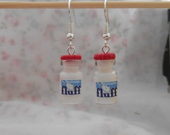FLUFF mashmallow miniature jar charm earrings
