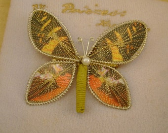 Gorgeous Vintage Princess Jewelry Bavarian Butterfly Brooch Pin Orange and Gold Colors, Handmade in West Germany