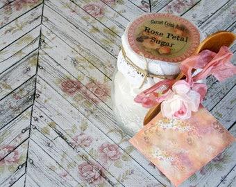 Rose Petal Sugar ~ Organic Rose Petal Sugar ~ Culinary Organic Rose Petals ~ Edible Rose Sugar ~ Flavored Sugar ~ Rimming Sugar ~ Chef Gift