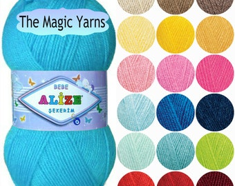 Alize sekerim, soft acrylic yarn, baby yarn, baby knitting yarn, baby crochet yarn, sport weight yarn, sport yarn