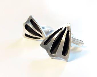 Statement Jewelry, Father's day Gift, Sterling Silver Cufflinks, Handmade Cufflinks, Oxidized Silver Cufflinks, Wedding Cufflinks, For Him