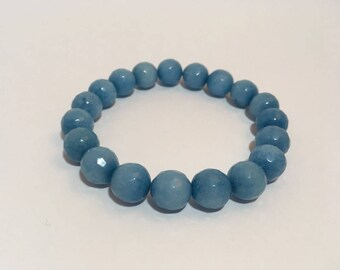 Semi precious beads bracelet faceted, light blue jade (10 mm)