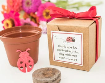 12 Plantable Seed Paper Red Lady Bug Birthday Party Favors, Red Ribbon, Eco Friendly Plantable Paper Flower Pot,  Personalized Kids Activity