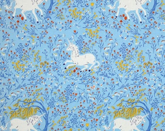 Heather Ross Far Far Away Windham fabrics Unicorn blue shy FQ or more OOP HTF