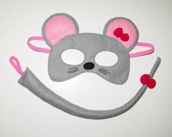 Mouse mask tail set for girl kids 2-10 years Grey Pink bow cute soft felt handmade costume gift for girl Dress up play Theatre roleplay