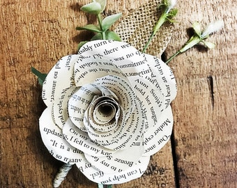 Book Page Paper Flower Boutonniere-Customizable
