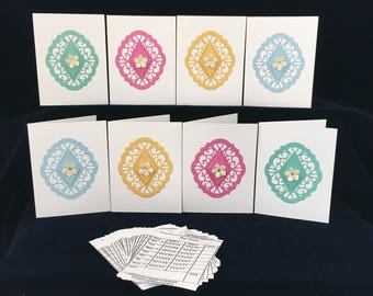 Reusable Bridge Tallies(8), 32 tally inserts, bridge score cards, brightly coloured tallies,hand made tallies, bridge game tallies