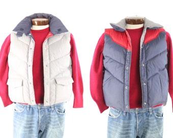 Vintage 70s Down Ski Vest Snowboarding Coat Jacket Reversible 1970s Men's Outerwear Large L