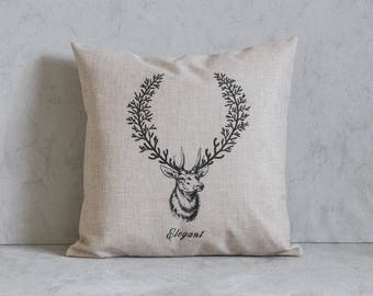 Deer Christmas Pillow Cover, Deer Pillow Cover,, Pillow Covers, Throw Pillow, Christmas Throw Pillow, Decorative Pillow Cover