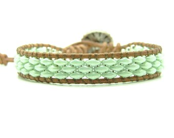Beaded Leather Wrap Bracelet, Light Green Beaded Wrap Bracelet, Super Duo Wrap Bracelet, Boho, Superduo Wrap Bracelet, Beaded Bracelet