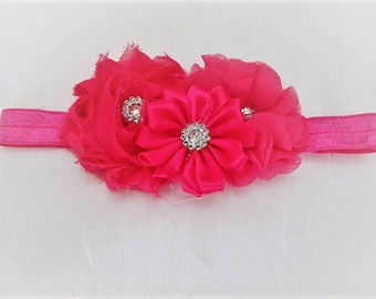 Toddlers Girls Hot Pink 3 Assorted Flowers Elastic Headband, Hairband with Rhinestone, Pearl and Button Centers