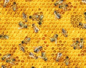 Honey Bees Cotton Fabric! 5 Fabrics! [Choose Your Cut Size]