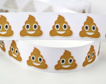 "Poop Emoji Happy Smiling Brown Inspired Printed Grosgrain Ribbon 7/8"" Wide PE010518"