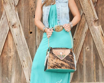 Brindle Cowhide Shoulder Bag with Rope Handle