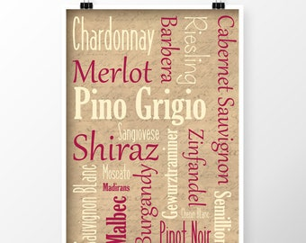 Birthday Gift For A Wine Lover, Wine Gift For Men, Wine Gift For Women, Wine Lover,  Wine Word Art, Word Art Print