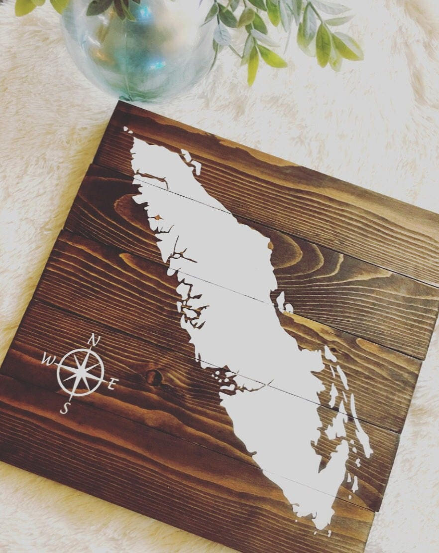 Hand Painted Map Of Vancouver Island Reclaimed Wood