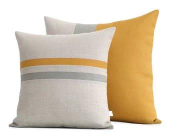 Marigold Colorblock & Striped Pillow Set with Grey Stripe - JillianReneDecor (16x16 and 20x20) Modern Decor - Golden Mustard Yellow FW2015