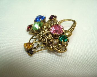 Victorian Styled Basket of Jeweled Flowers Pin.